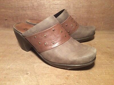NAOT  Leather Mules - Gray And Brown With Rivets Size 38 US 7
