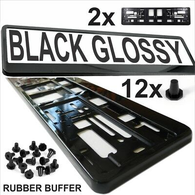 2x NUMBER PLATES SURROUNDS BLACK GLOSSY HOLDER FRAME FOR ANY CAR HIGH QUALITY