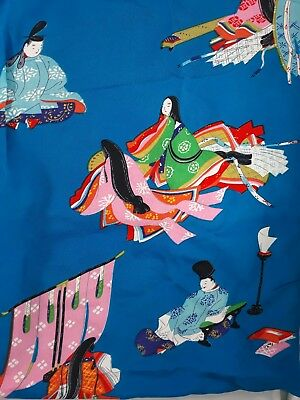 "Vintage Japanese Fabric  Silk Rayon Crepe Blue 29"" x 4 5/8 Yards 74 cm x 423 cm"