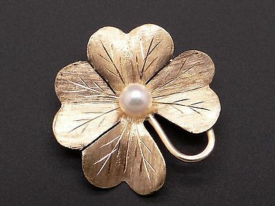 14k Yellow Gold 5mm Round White Pearl 4 Leaf Clover Flower Brooch Pin
