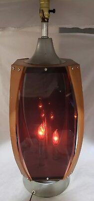 "Beautiful Mcm Mid Century Modern Lg 40"" Table Lamp Curved Wood, Silver, Flames"