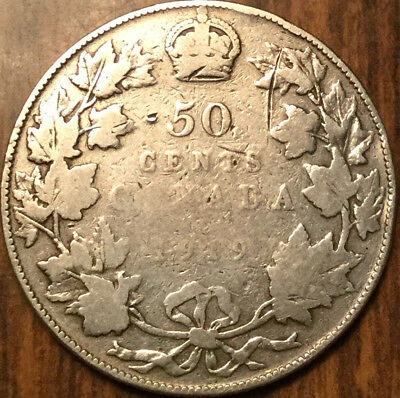 1919 CANADA SILVER 50 FIFTY CENTS - Cleaned