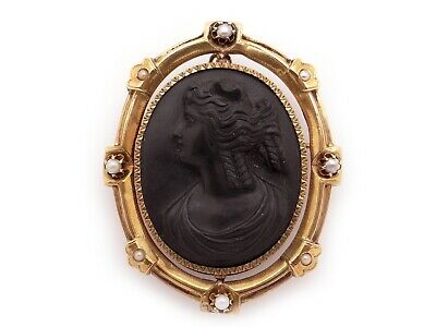 14k Yellow Gold Carved Stone Lava Cameo Pearl Woman Portrait Pendant Brooch Pin