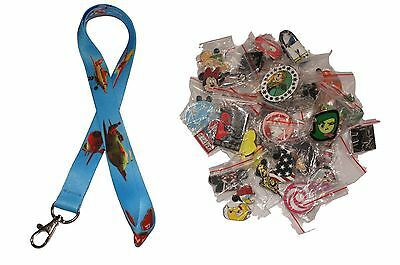 Disney World Pin Trading Lot Lanyard Starter Set Planes Fire Rescue w/ 25 Pins