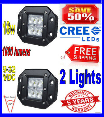 "2x 4inch 4"" Spot Flush Mount 18W CREE LED Pod Lights For Truck Jeep Off Road ATV"