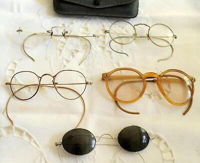 5 Antique Eye Glasses Lot Spectacles Vintage Wire Rim Frame Cases 1900-1920