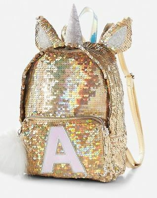 """NWT Justice girls gold sequin UNICORN Mini Backpack Initial """"A"""" - Must Have"""