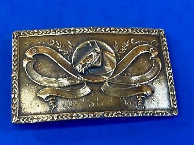 Vintage Indiana Metal Craft X36 western Belt Buckle Horse in Ribbons Award type