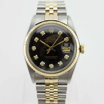 Rolex Two Tone 18ct Gold Oyster Perpetual DateJust Ref. 1601 Diamond Dial Watch