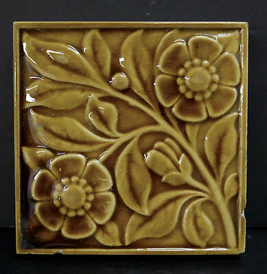 Mintons China Works Antique Victorian Floral Tile England