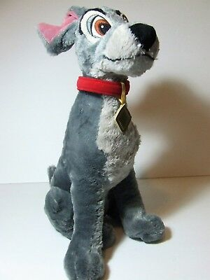 """Disney Store Lady and the Tramp TRAMP Gray Dog Red Collar 15"""" Soft Plush Toy EUC"""