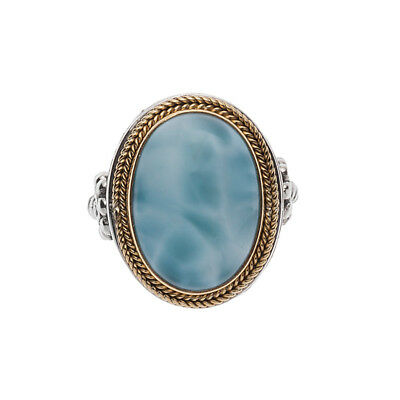 Savati ~ 22K Solid Gold & Sterling Silver Cocktail Ring with Larimar