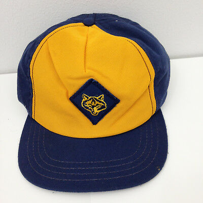 Vtg Boy Scout Wolf Cub Scout Hat - USA Union Made Official S/M Snapback