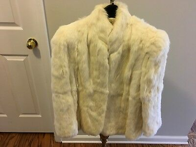 Vintage Interim Womens Small Rabbit Fur Coat White Cream Long Sleeves Holiday