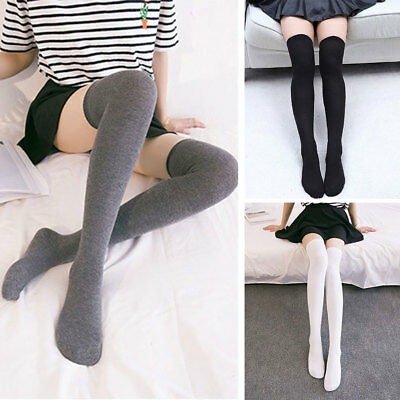 Women Solid Thigh High Sexy Over The Knee Stockings Extra Long Cotton New Socks