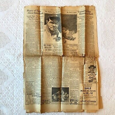 """""""babe Ruth Is Dead"""" Boston Post Wednesday August 18, 1948 Articles"""