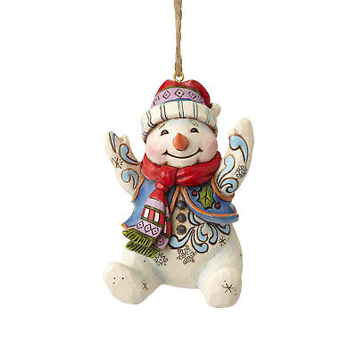 Jim Shore~Happy Sitting Snowman Ornament~Christmas~New 2018~Nib~6001513