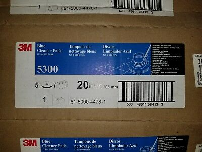 """20"""" 3M Blue Cleaning Pads, 5 Pack, 5300, 175-600 RPM"""