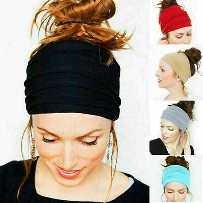 Women/Men Yoga Sports Wide Headband Elastic Boho Hair Band Head Wrap Wristband
