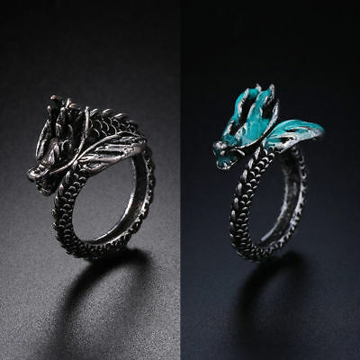 Casual Ancient Silver Dragon Ring Men Women Jewelry Opening Rings