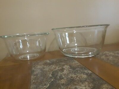Vintage 2 GE General Electric Clear Glass Mixing Bowls For Stand Alone Mixer