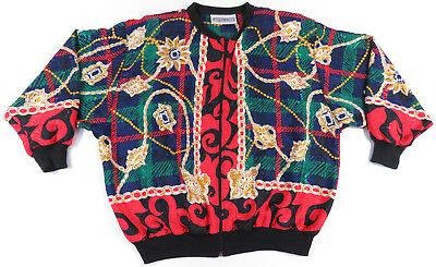 80S 90S Baroque Chain Jewels All Over Print Full Zip Jacket Hip Hop Swag Vintage