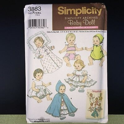 """Simplicity SEWING PATTERN #3883 Doll Clothes For Baby Dolls 12"""" - 22"""" S-M-L OOP"""