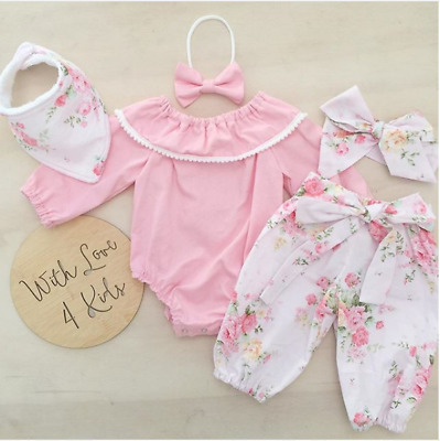 AU Cute Newborn Baby Girls Floral Romper Tops Pants Home Outfits Sets Clothes