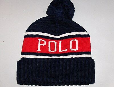 POLO RALPH LAUREN Beanie Hat Lambswool Blend Black with Red Logo ... 78f5dbfabc7f