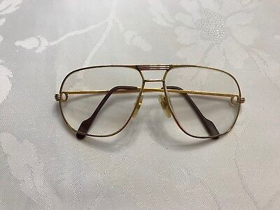 7aea3f5946 Authentic Cartier Vintage Mens Romance Santos Gold Plated Glasses Frame Only