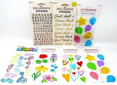 Mrs. Grossman's Lot of 7 packs 270+ pcs Stickers Foil Alpha Clear Floral Party +