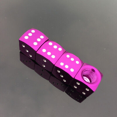 4pcs Purple Aluminum Alloy Car Parts Wheel Tire Valve Stem Air Dust Caps Cover