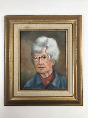 """Acrylic Portrait Painting, 8""""x10"""" canvas of Elderly Woman with Glasses"""
