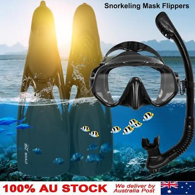 Adults Snorkel Fins Set Tempered Glass Diving Mask Dry Breath Tube and Flippers