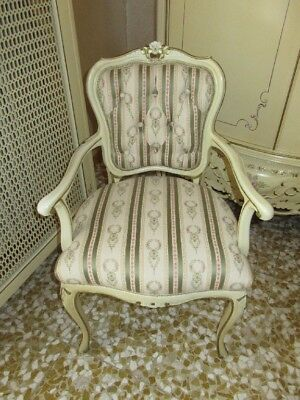 Vintage Chair Small Armchair Wooden Painting Style Louis Xv Elegant Period '900