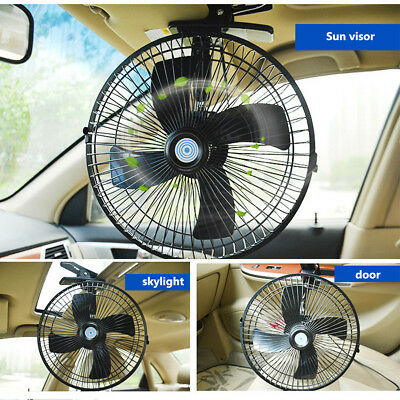 10'' 12V Rotation Car Van Clip On Oscillating Fan Summer Air Cooler 2 Speed AU