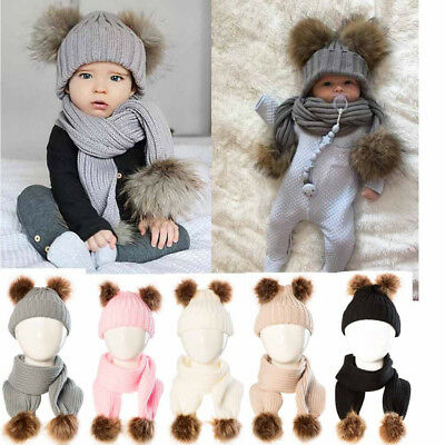 2PCS Baby Boy Girls Winter Warm Pom Bobble Beanie Ski Hat Cap Scarf Scarves AD