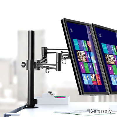 Dual HD LED Desk Mount Monitor Stand 2 Arm Display Bracket Screen TV Holder @HOT