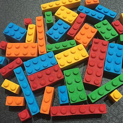 Edible LEGO Cake, Cup Cake Decorating Toppers, Birthday Toppers X 24