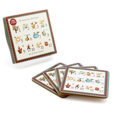 Twelve Days of Christmas Table Decoration Festive Gift Wood Printed Cup Coasters