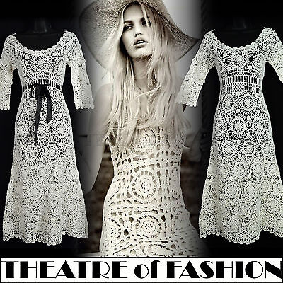DRESS CROCHET LACE WEDDING VINTAGE 70s 8 6 10 60s HIPPY BOHO FESTIVAL VAMP GYPSY