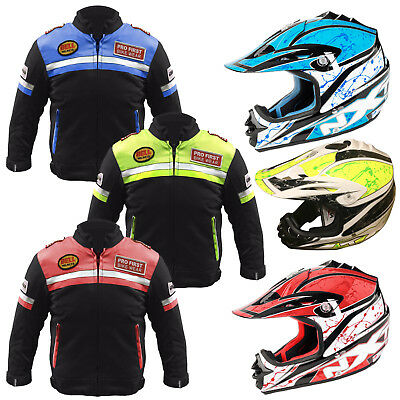 Kids Child Motorcycle Motorbike Jacket Waterpoof Motocross Helmet Racing Helmets