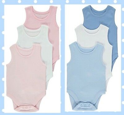 Ex-George Baby Girls Boys Pink Blue Cotton 3 Pack Sleeveless Bodysuits Vests