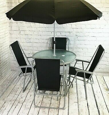 Metal Garden Patio Furniture Table and Chair Set with Folding Chairs (6 Piece)