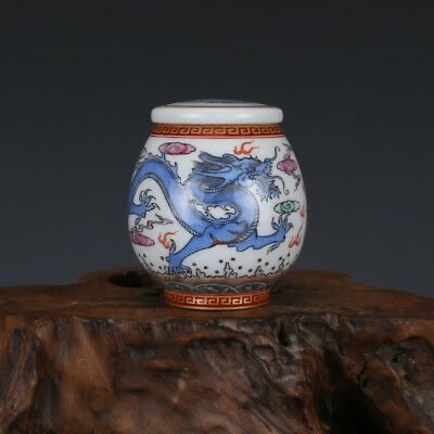 China old antique Porcelain Qing Qianlong famille rose gilt dragon Tea Caddy