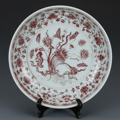 """12"""" China old antique Porcelain yuan Underglaze red A bunch of lotus Plate"""