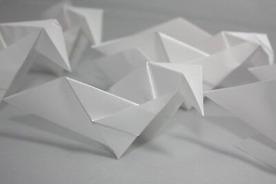 20 Origami Doves in Ice White with a Pearlescent finish