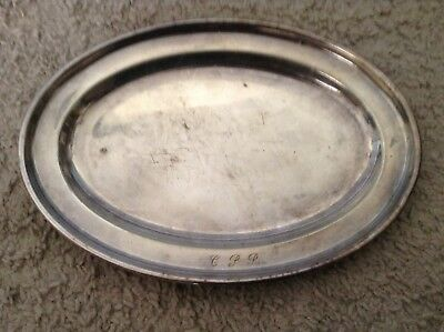 """Vintage Elkington & Co. Hard Soldered Silver Plate Oval Tray 10""""by7"""""""
