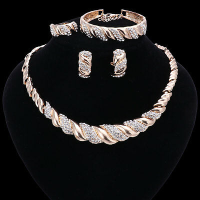 Fashion Gold Plated Crystal Necklace Bangle Earring African Beads Jewelry Sets