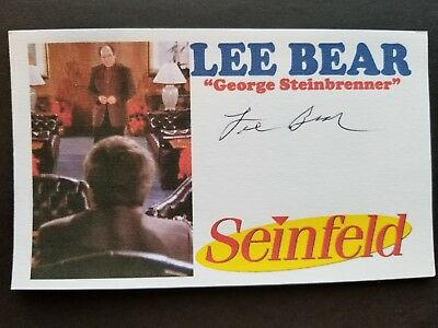 """SEINFELD"" LEE BEAR ""GEORGE STEINBRENNER"" Autographed 3x5 Index Card"